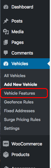 QuickCab menu - vehicle features